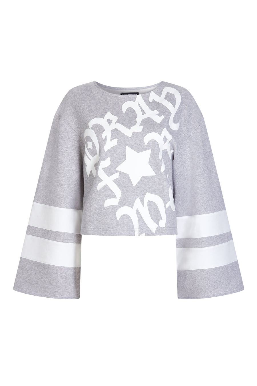 Grey 'Pray for Me' Cropped Sweatshirt by House of Holland