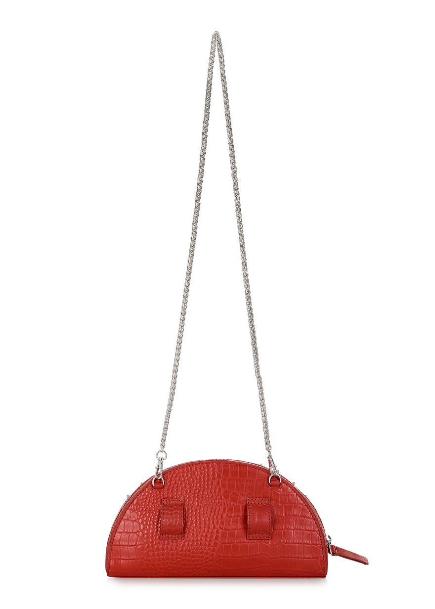Red Croc Half Moon Clutch