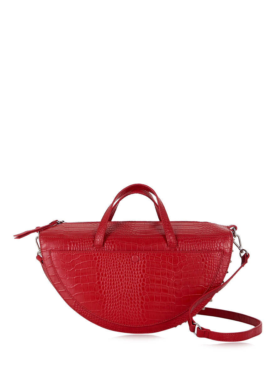 Red Croc Half Moon Top Handle Bag