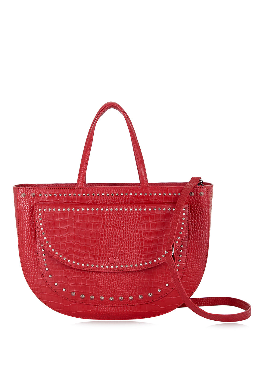 Red Croc Half Moon Tote