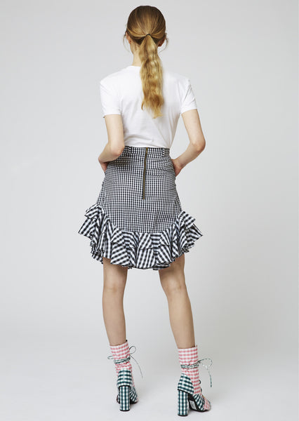 Gingham Cotton Frill Mini Skirt