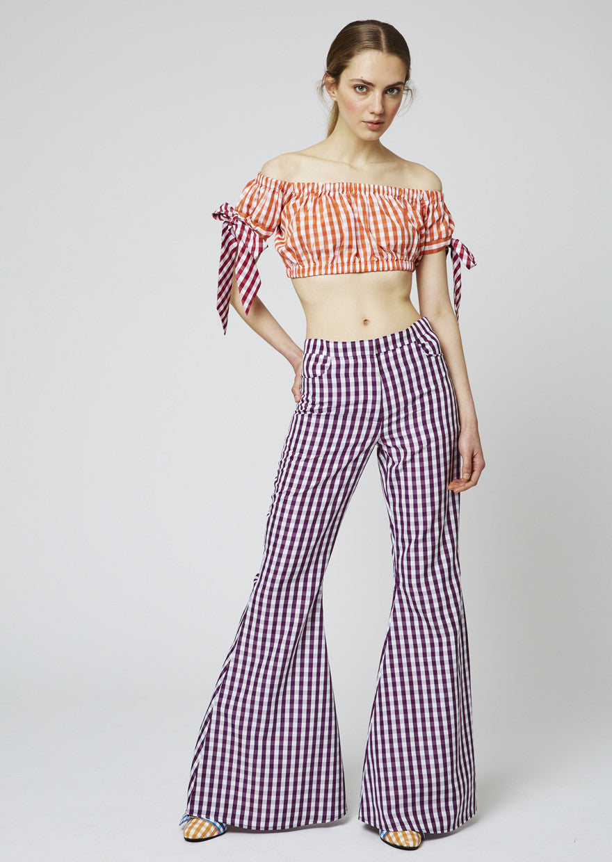 Gingham Crop Top With Gingham Ties