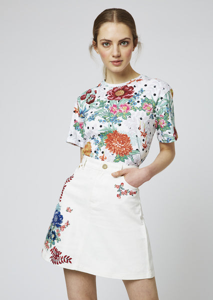 Floral Embroidered Cotton Drill Skirt