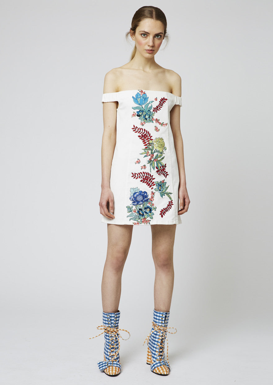 Floral Embroidered Cotton Drill Dress