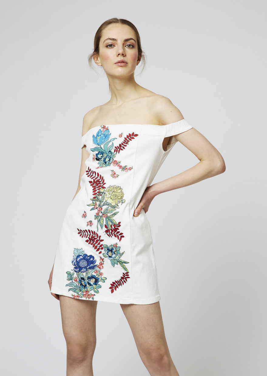 Floral Embroidered Cotton Drill Off Shoulder Dress