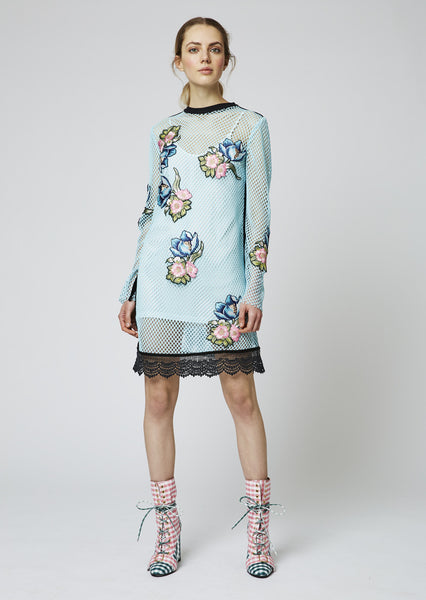 Mesh Short Dress With Floral Patches