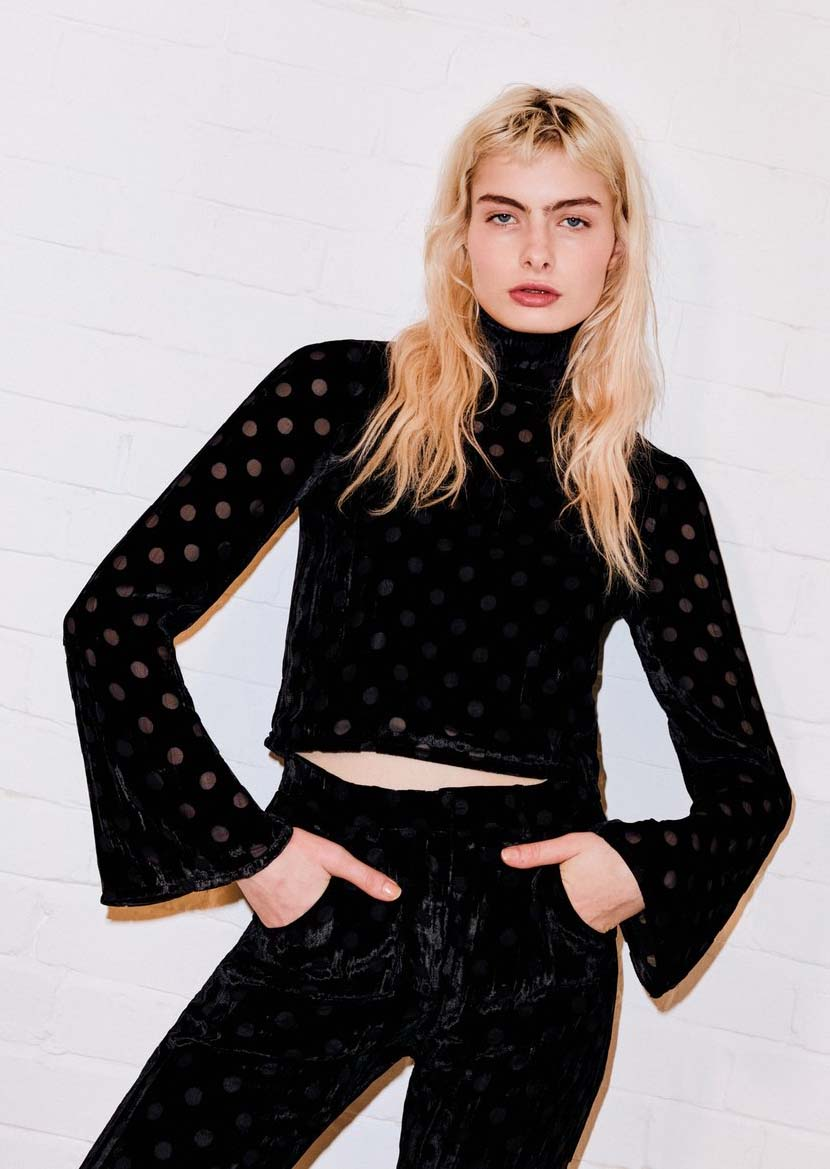 Spot Velvet Polo Neck Top