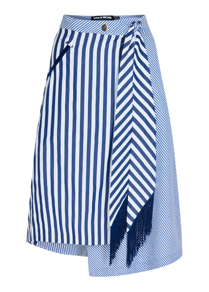 Contrast Stripe Wrap Skirt