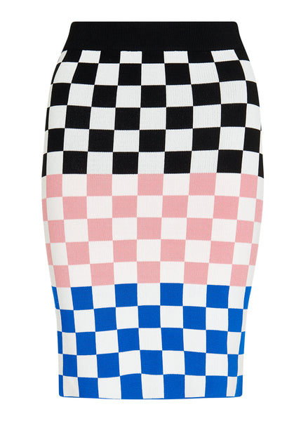 BLACK CHECKERBOARD MINI SKIRT
