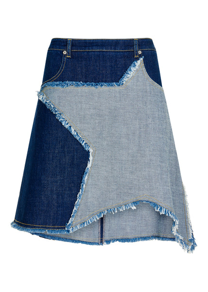 Denim Chambray Star Hem Skirt