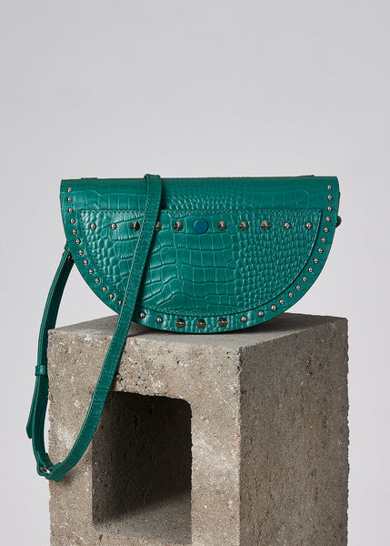 Teal Croc Half Moon Crossbody Bag