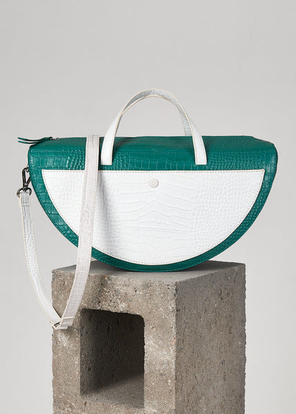 Teal Croc Half Moon Top Handle Bag