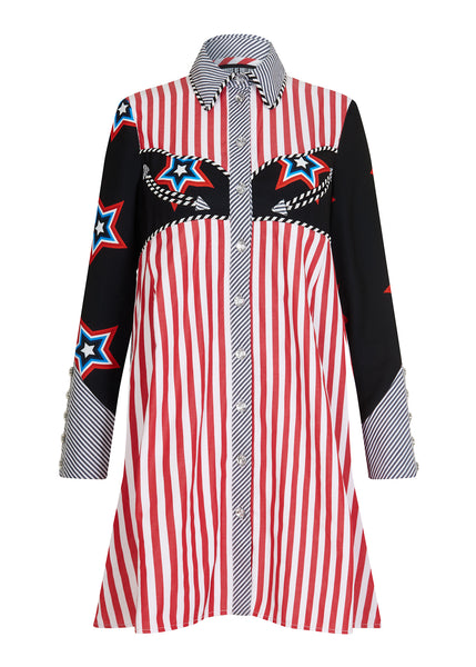 Oversized Stars And Stripes Shirt Dress