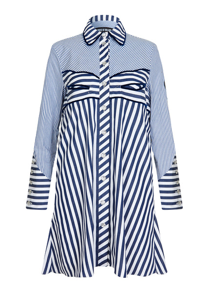 Western Striped Shirt Dress