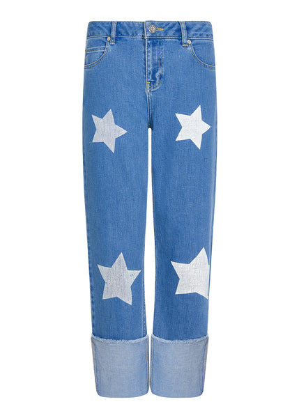 STAR PRINTED DEEP TURN UP JEANS