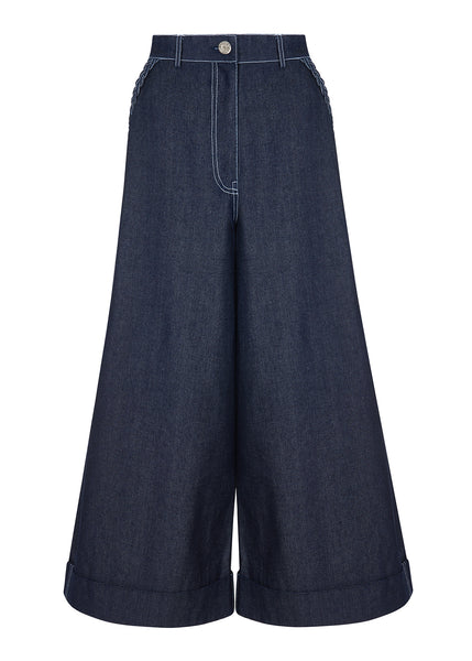 Indigo Star Pocket Flared Culotte