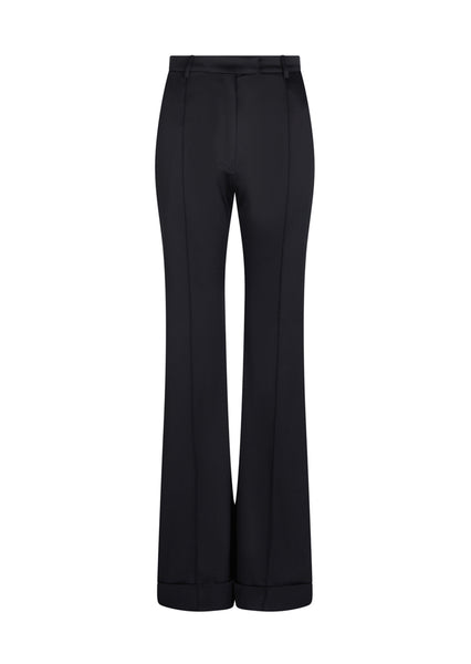 Black Satin Tailored Flared Trouser