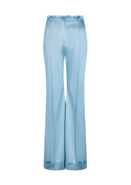 Blue Satin Tailored Flared Trouser