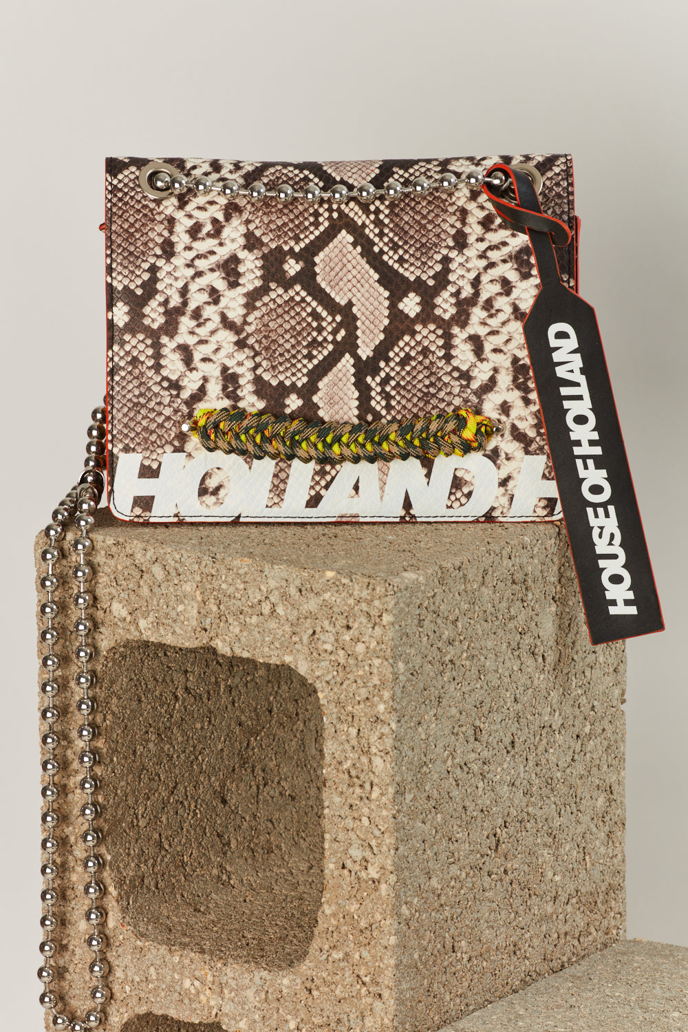 Large 'Margot' Shoulder Bag (Mustard Snake Skin) by House of Holland