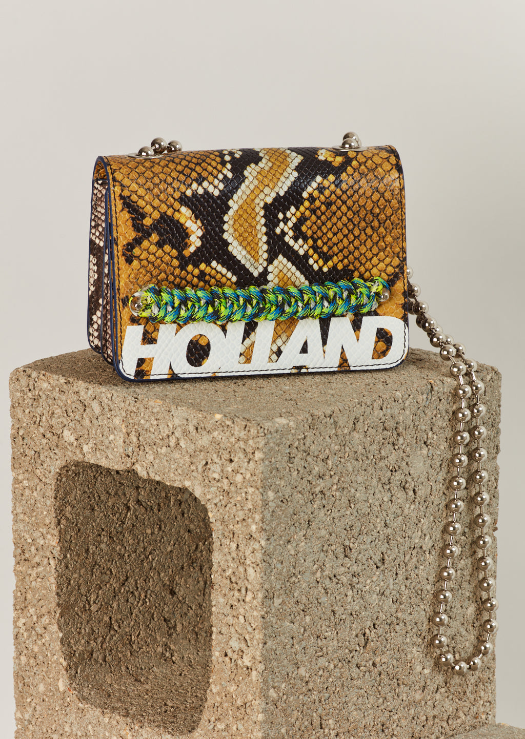 'Margot' Cross Body Bag (Mustard Snake Skin)