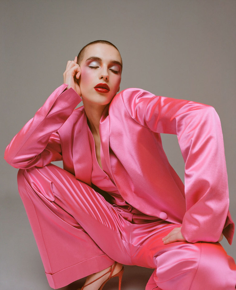 Pink Satin Tailored Jacket