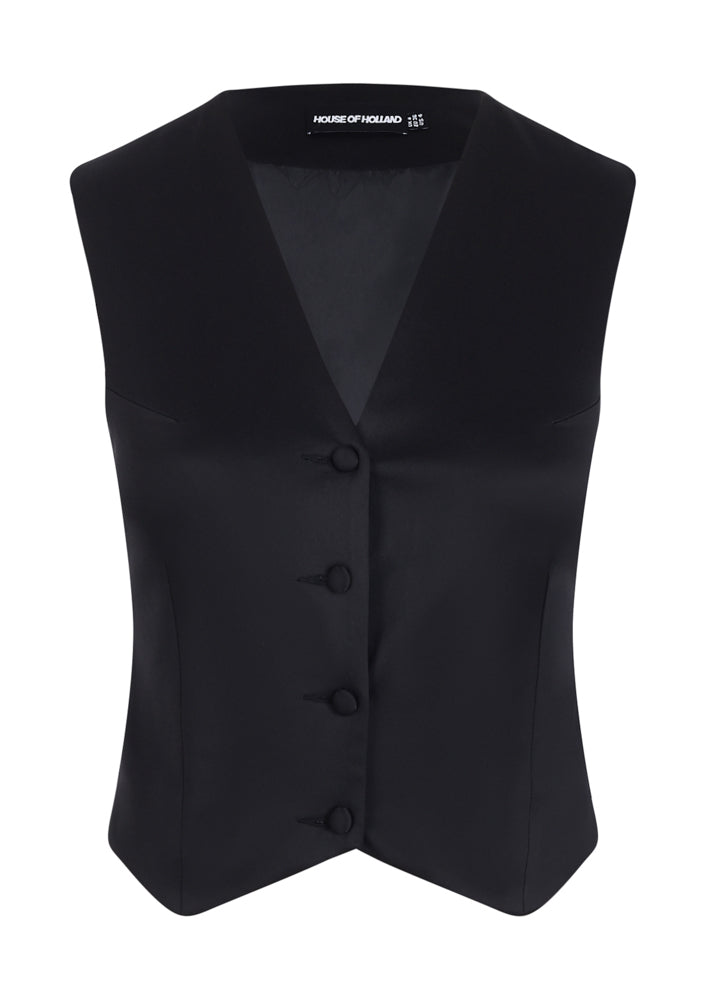 Black Satin Tailored Waistcoat