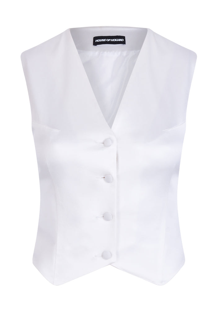 White Satin Tailored Waistcoat
