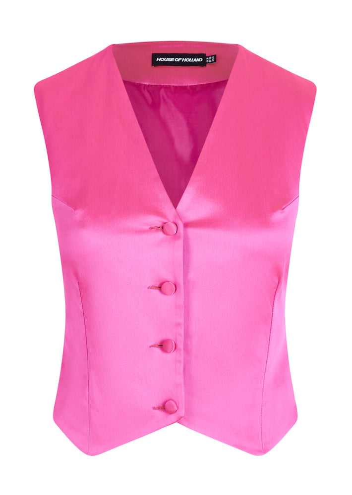 Gilet Sur Mesure Satin Rose