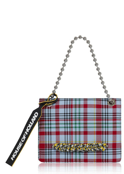 Large 'Margot' Shoulder Bag (Blue Tartan)