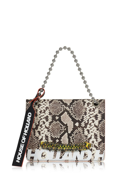 Large 'Margot' Shoulder Bag (Mustard Snake Skin)