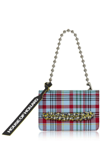 'Margot' Cross Body Bag (Blue Tartan)