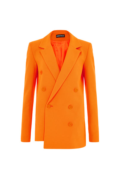 Double Breasted Suit Jacket (Neon Orange)
