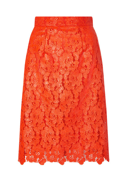 Lace Pencil Skirt/ Red