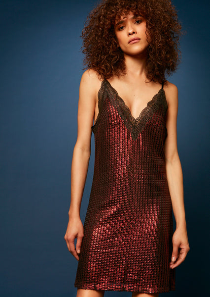 Chainmail Metallic Slip Mini Dress