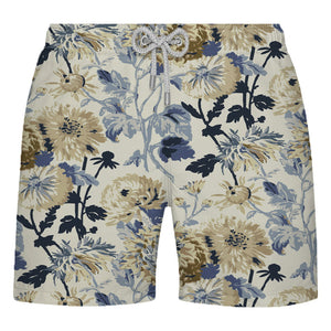 Shorts Floral Bege e Azul Marinho - Citiz Beach Wear