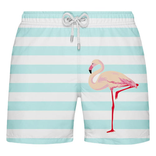 Shorts de Banho Estampado Listrado com Flamingo - Citiz Beach Wear