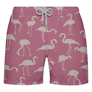 Shorts de Banho Masculino Estampado Rosa com Flamingos - Citiz Beach Wear
