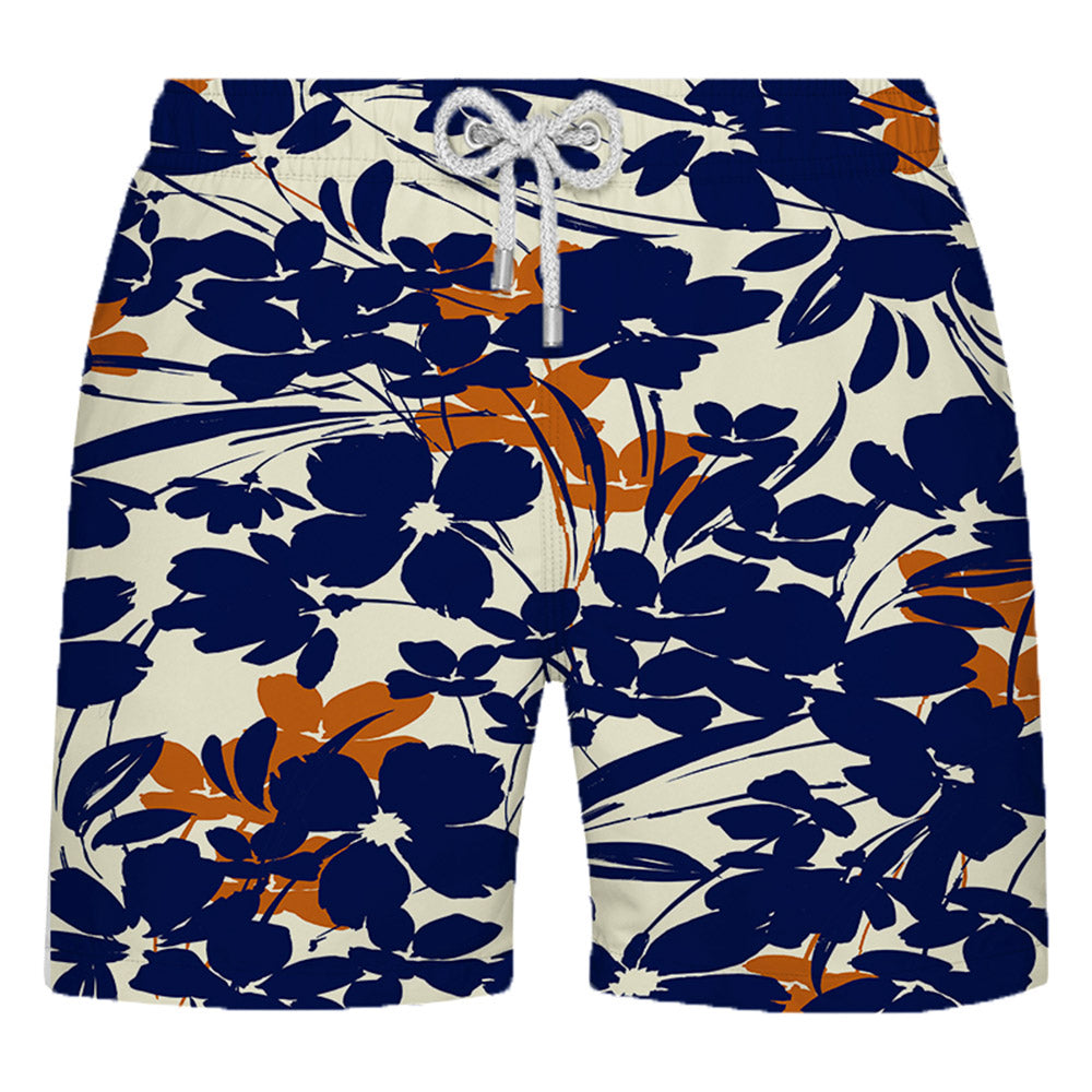 Shorts Estampado Floral Azul e Laranja - Citiz Beach Wear