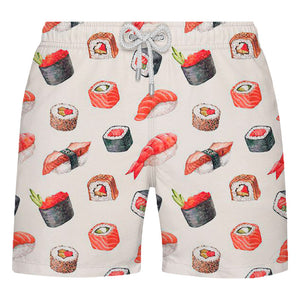 Shorts de Banho Masculino Estampado Citiz Bege Com Sushis - Citiz Beach Wear