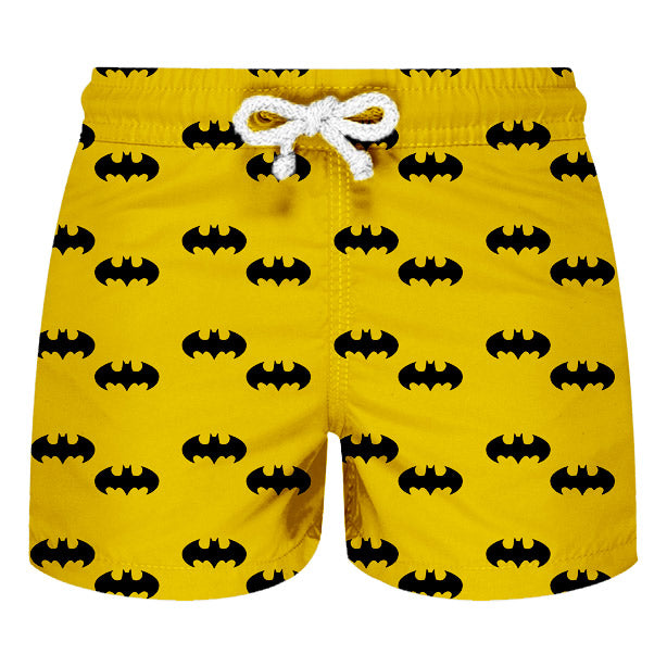 Shorts de Banho Infantil Masculino Estampado Amarelo Com Simbolos do Batman - Citiz Beach Wear