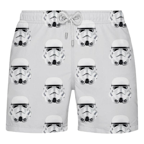 Shorts de Praia Estampado Masculino Cinza Com Stormtropper - Citiz Beach Wear