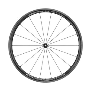 Campagnolo Bora Wto 33 bicycle wheel with white label