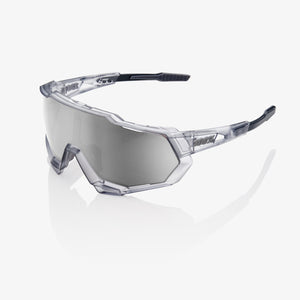 bicycle-garage - 100% SPEEDTRAP - MATTE TRANS. CRYSTAL GREY - HIPER SILVER MIRROR LENS -