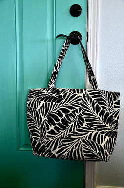 Oneloa Black Tropical Leaf Tote Bag