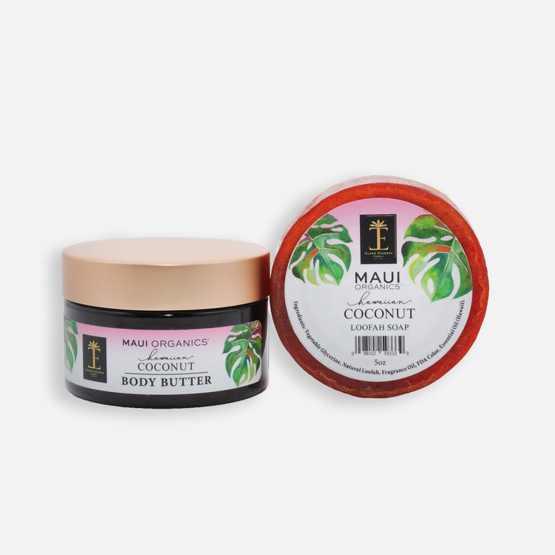 Maui Organics Body Butter and Loofah Duo - In 8 Fragrances