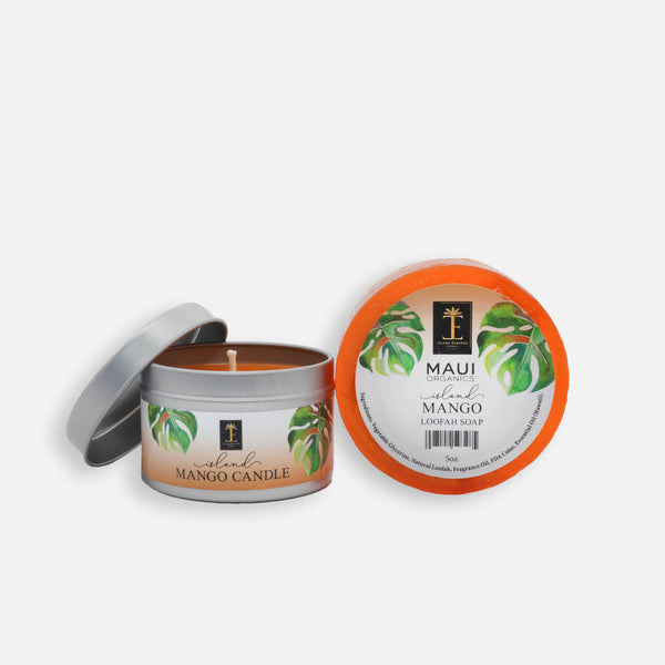 Island Mango Candle and Loofah Soap Duo