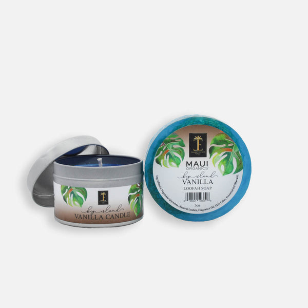 Big Island Vanilla Candle and Loofah Soap Duo