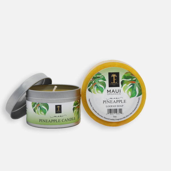 Maui Pineapple Candle and Loofah Duo