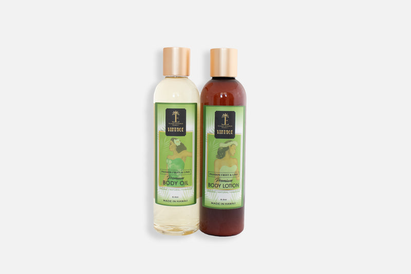 Vintage Passionfruit and Lime Premium Body Oil and Body Lotion
