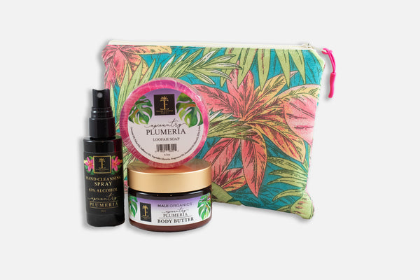 Plumeria Gift Set w/ Oneloa Tropical Leaf Small Bag